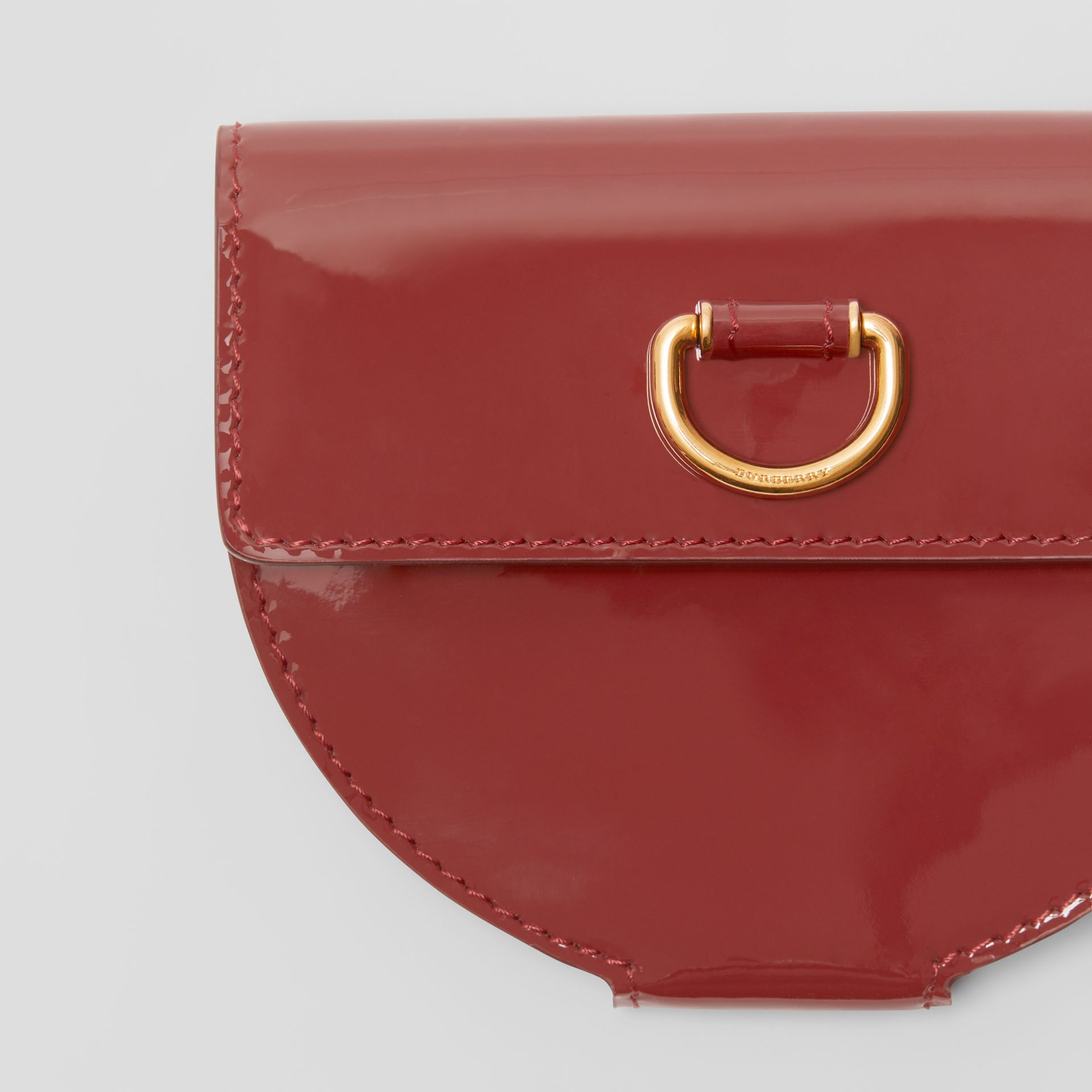 D-ring Detail Patent Leather Coin Case in Crimson - Women | Burberry - gallery image 1
