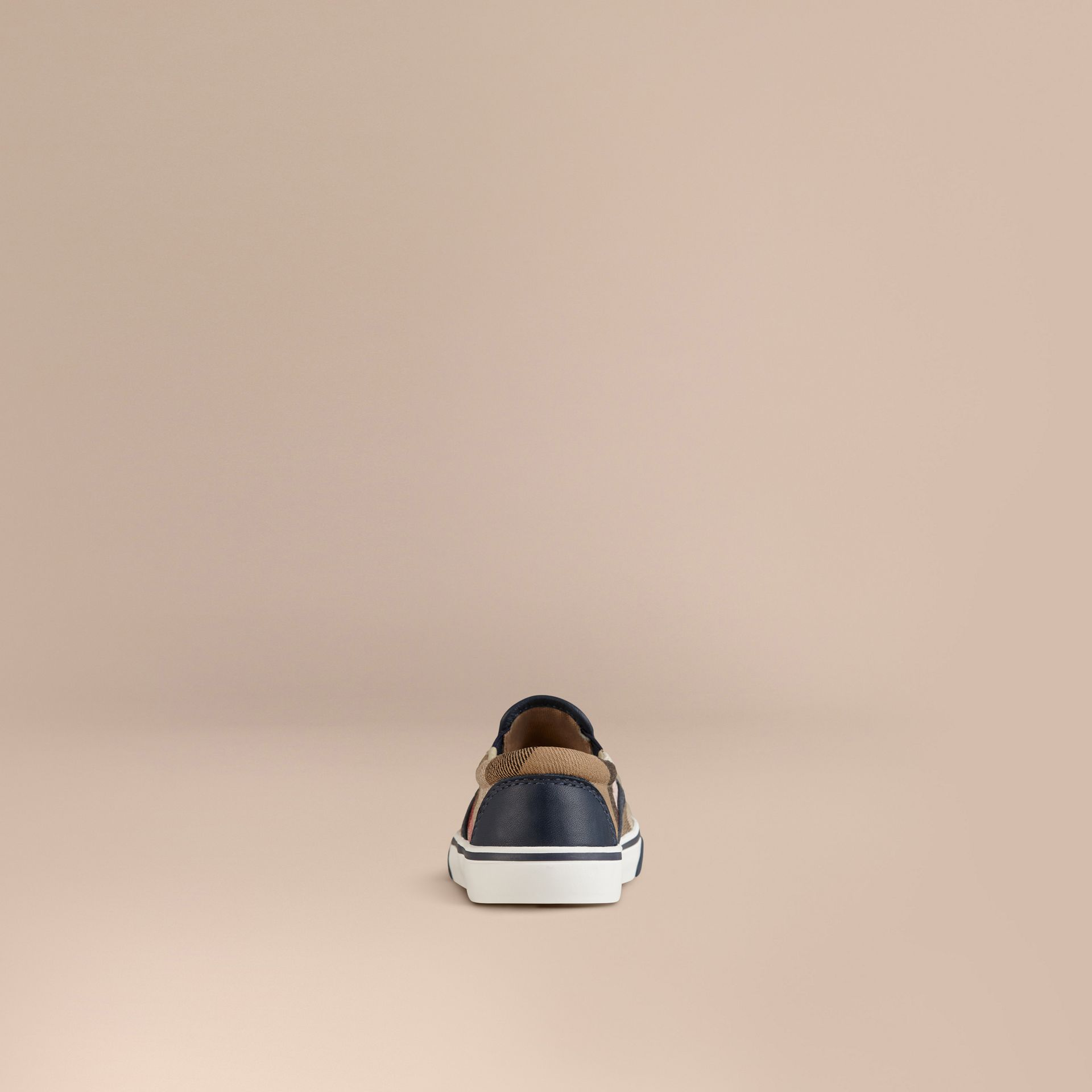 House Check Cotton Slip-On Trainers in Navy | Burberry Canada - gallery image 3