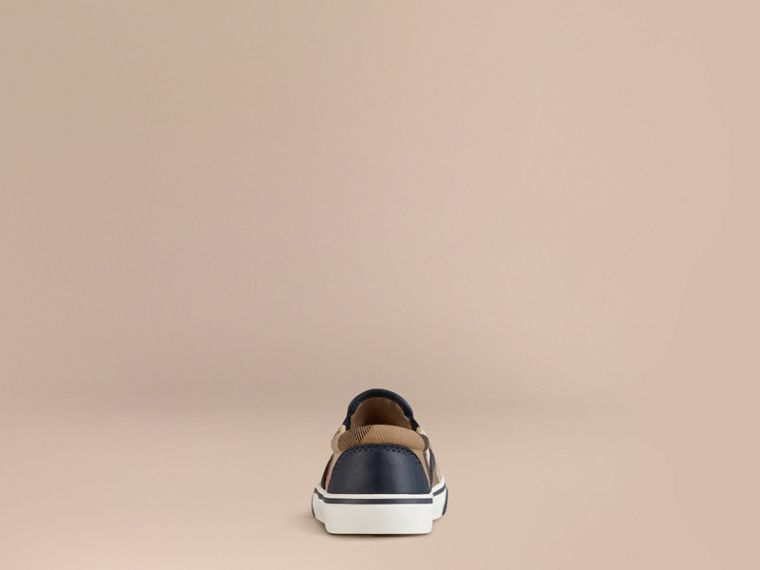 Navy House Check Cotton Slip-On Trainers - cell image 2