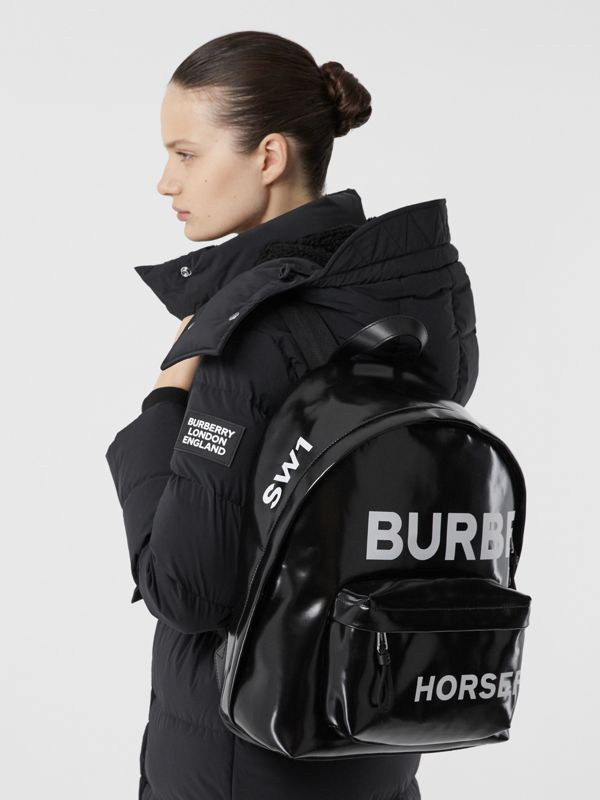 Horseferry Print Coated Canvas Backpack in Black/white | Burberry - cell image 2