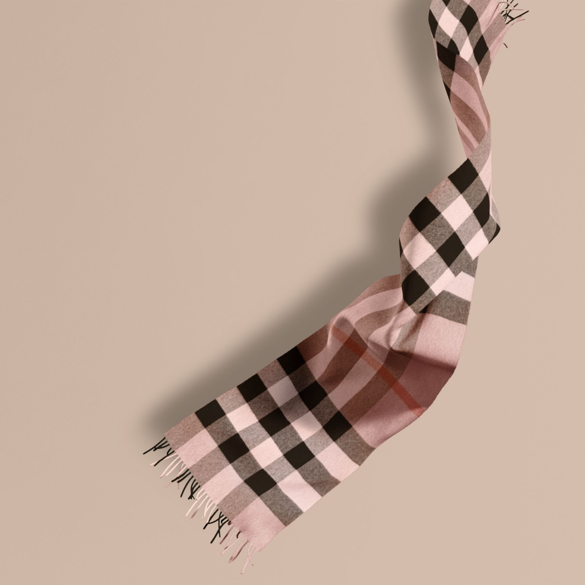 The Large Classic Cashmere Scarf in Check Rose - gallery image 1