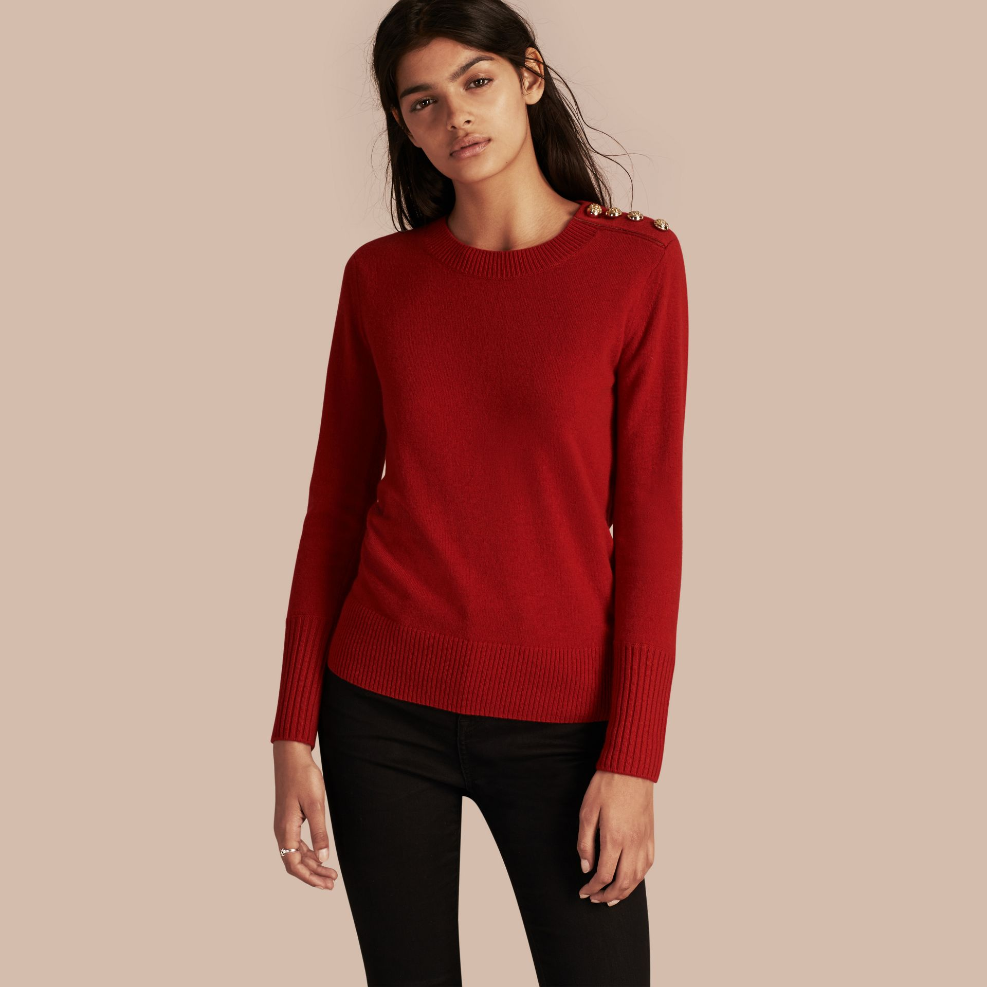 Cashmere Sweater with Crested Buttons Parade Red - gallery image 1