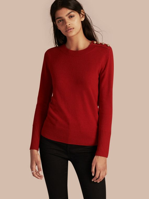 Cashmere Sweater with Crested Buttons Parade Red