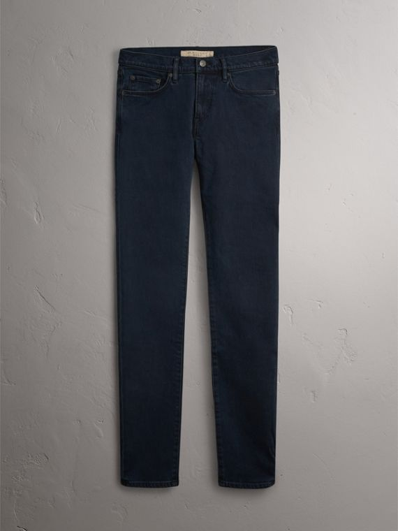 Slim Fit Over-dyed Stretch Jeans in Dark Indigo - Men | Burberry - cell image 3