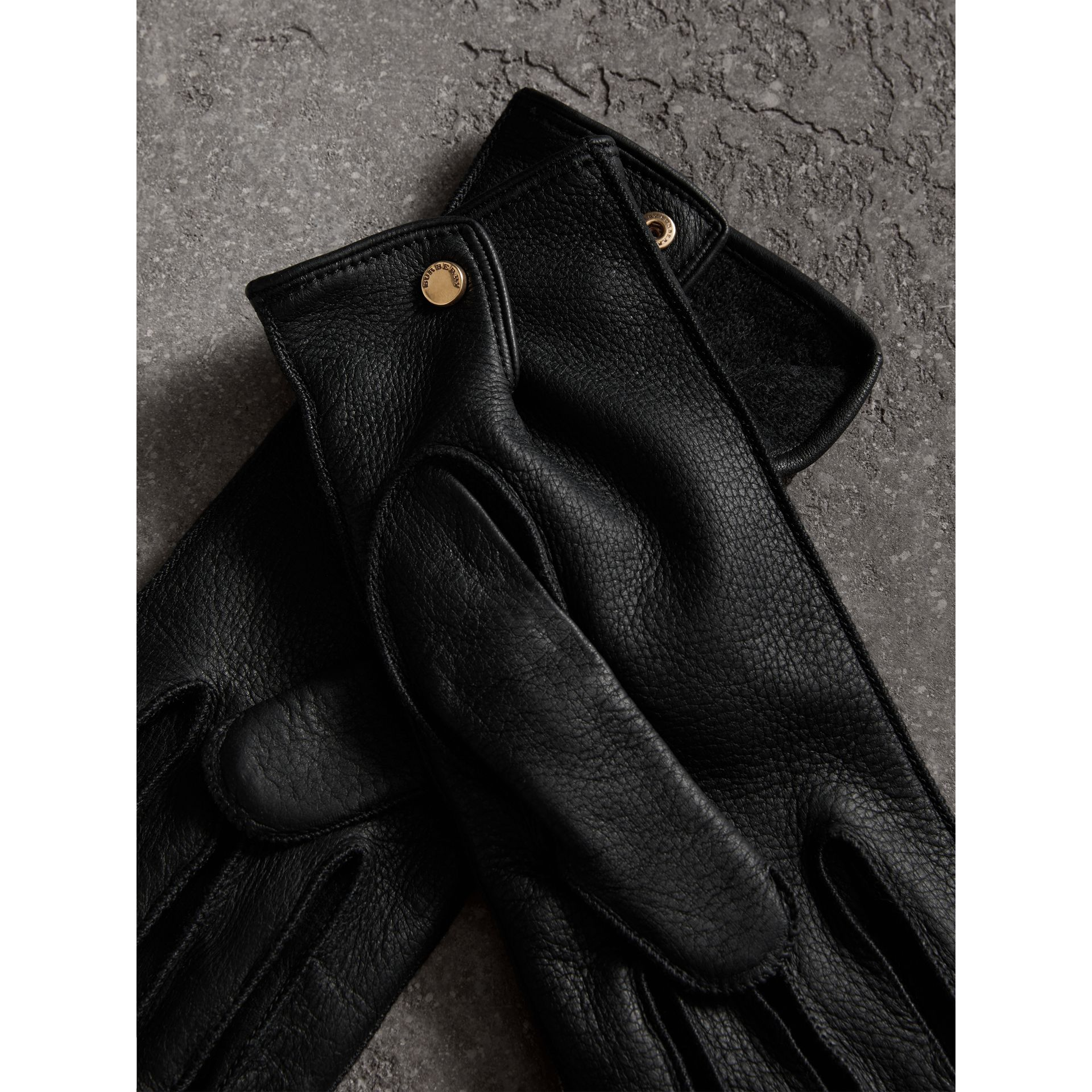Deerskin Gloves in Black | Burberry Australia - gallery image 3