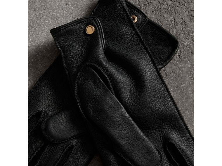 Deerskin Gloves in Black | Burberry Australia - cell image 2