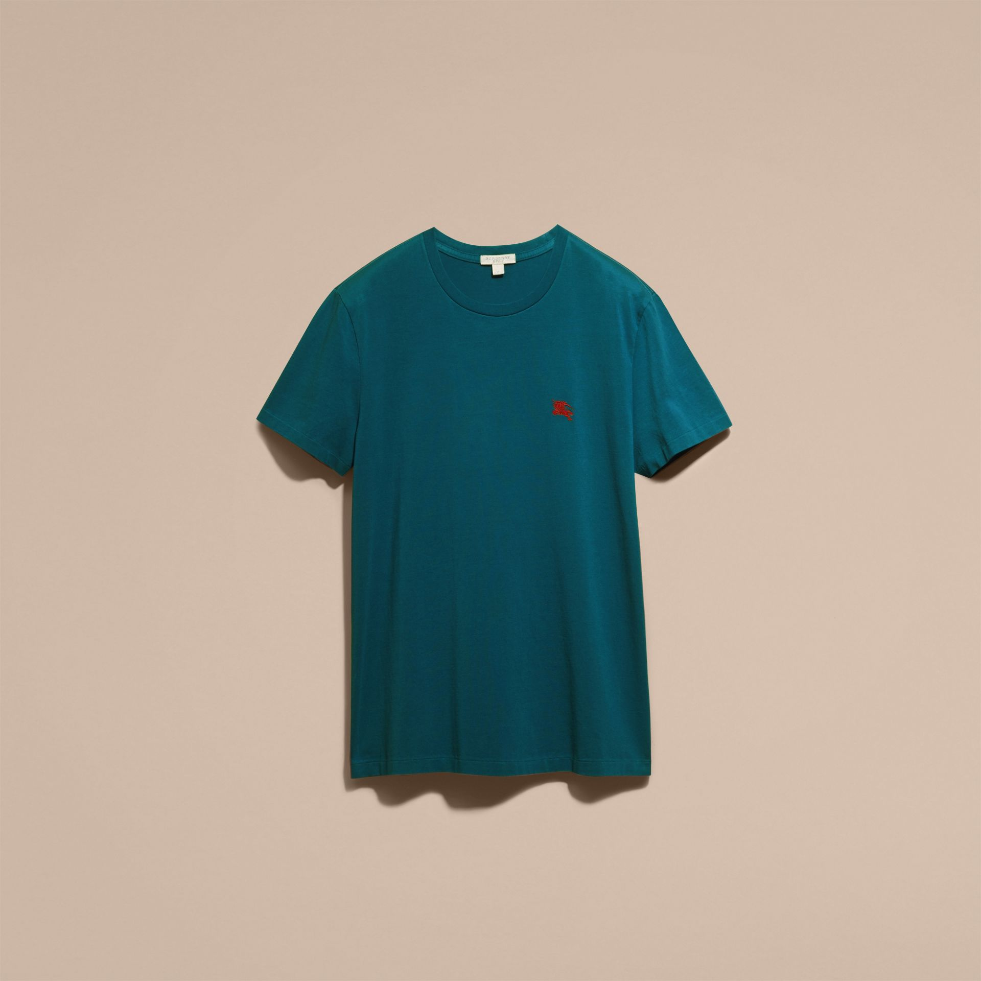 Cotton Jersey T-shirt in Mineral Blue - Men | Burberry - gallery image 3