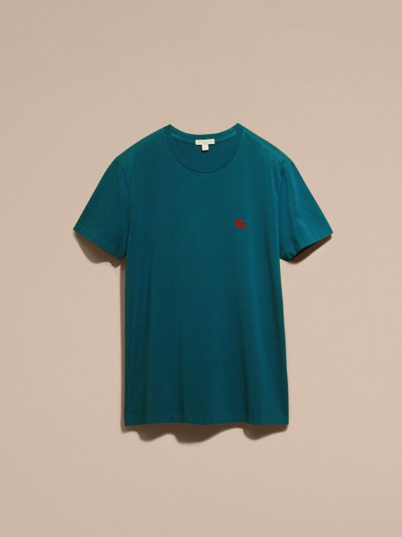Cotton Jersey T-shirt in Mineral Blue - Men | Burberry - cell image 2