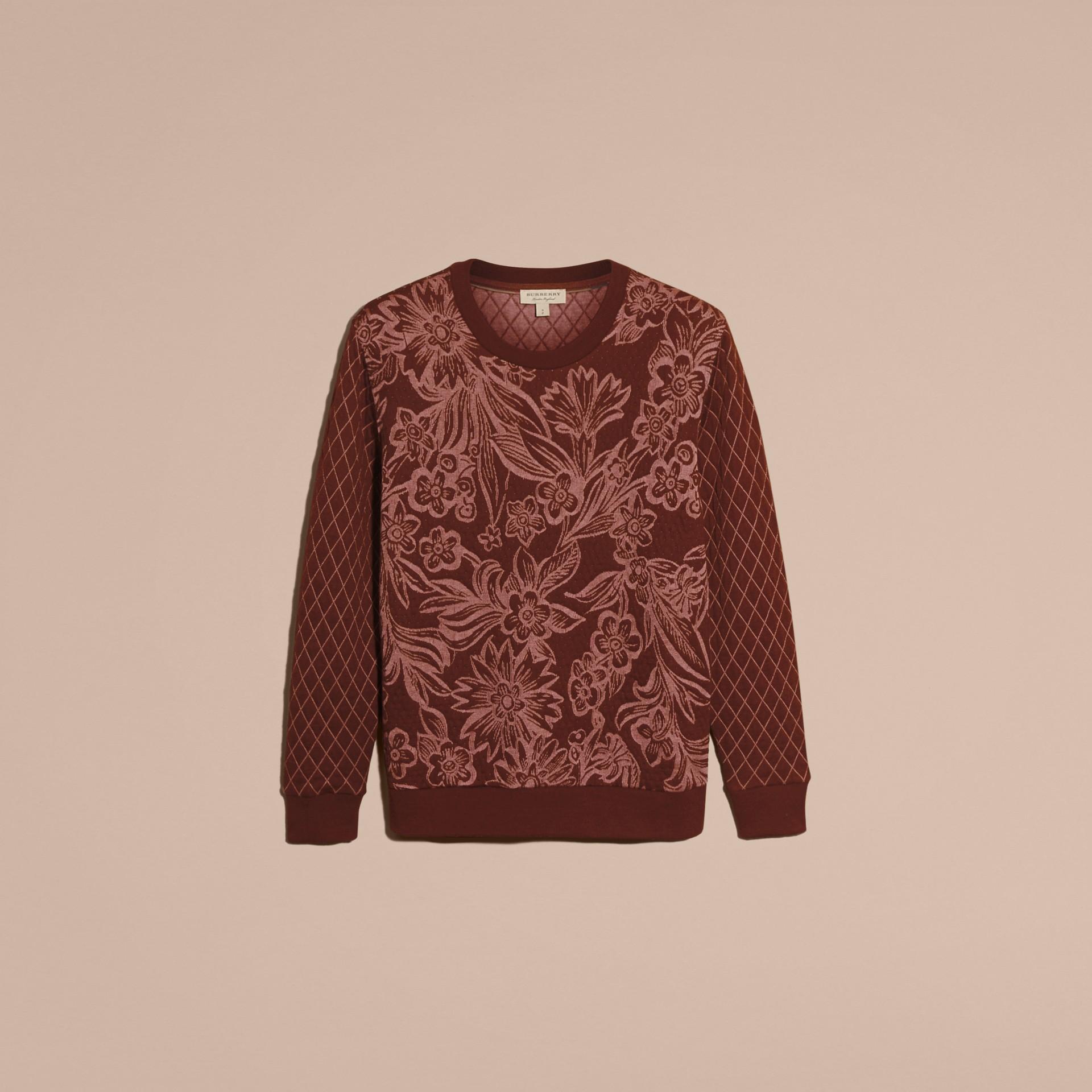 Granata Pullover in misto cotone e lana con motivo floreale in jacquard - immagine della galleria 4