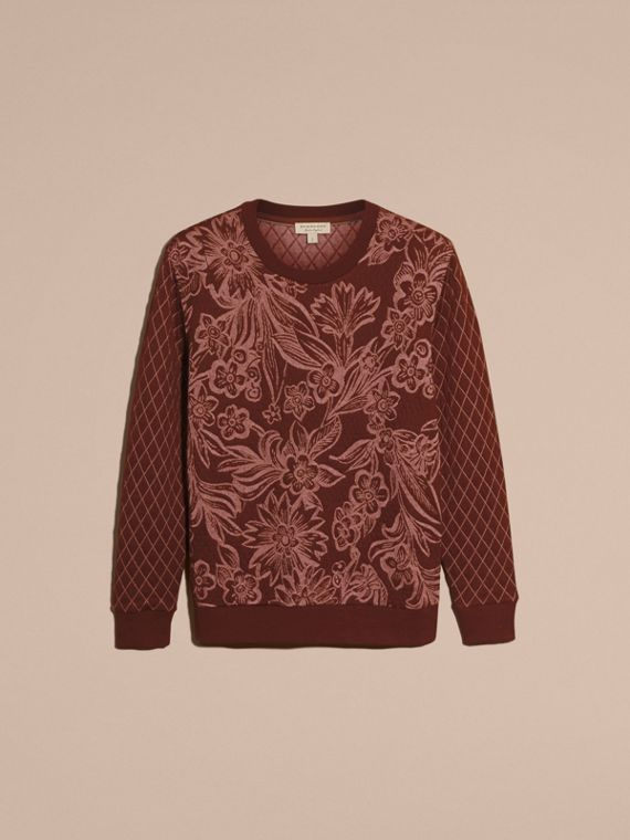 Garnet Floral Jacquard Cotton Wool Blend Sweater - cell image 3