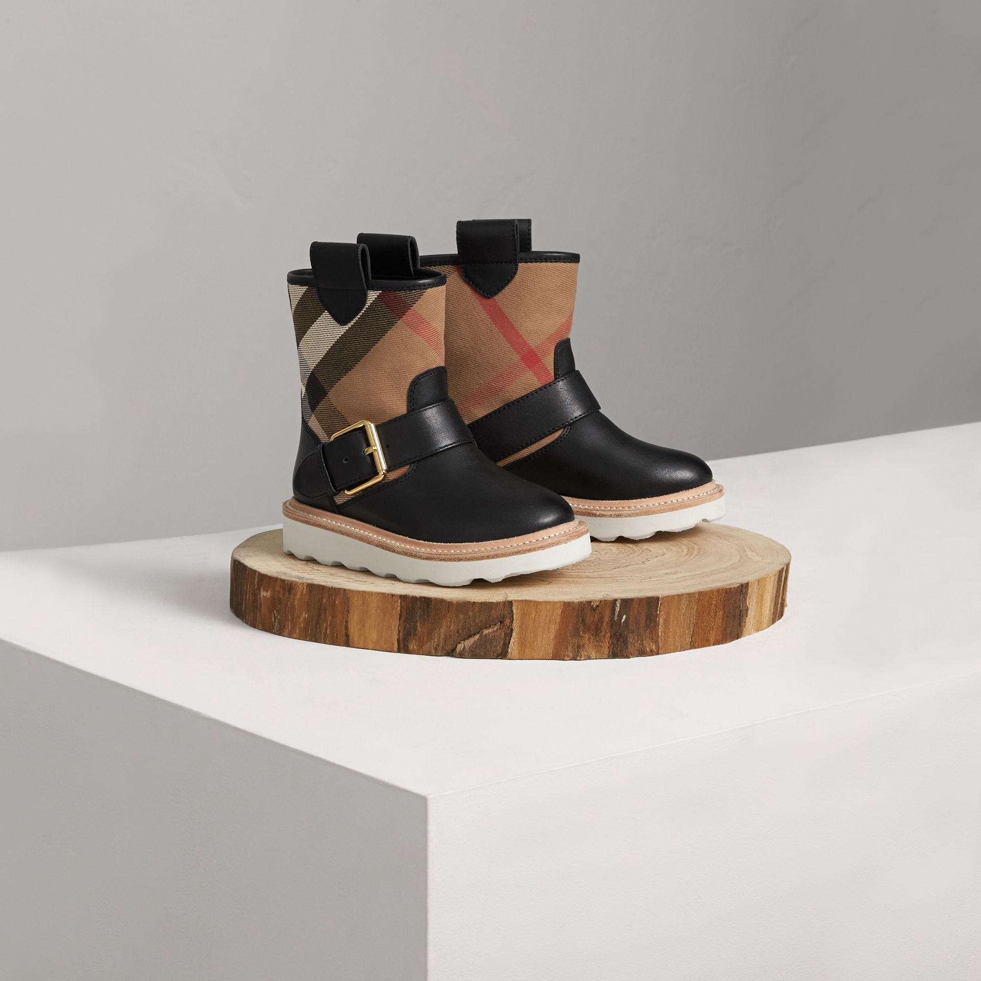 House Check and Leather Weather Boots in Classic | Burberry Singapore - gallery image 0