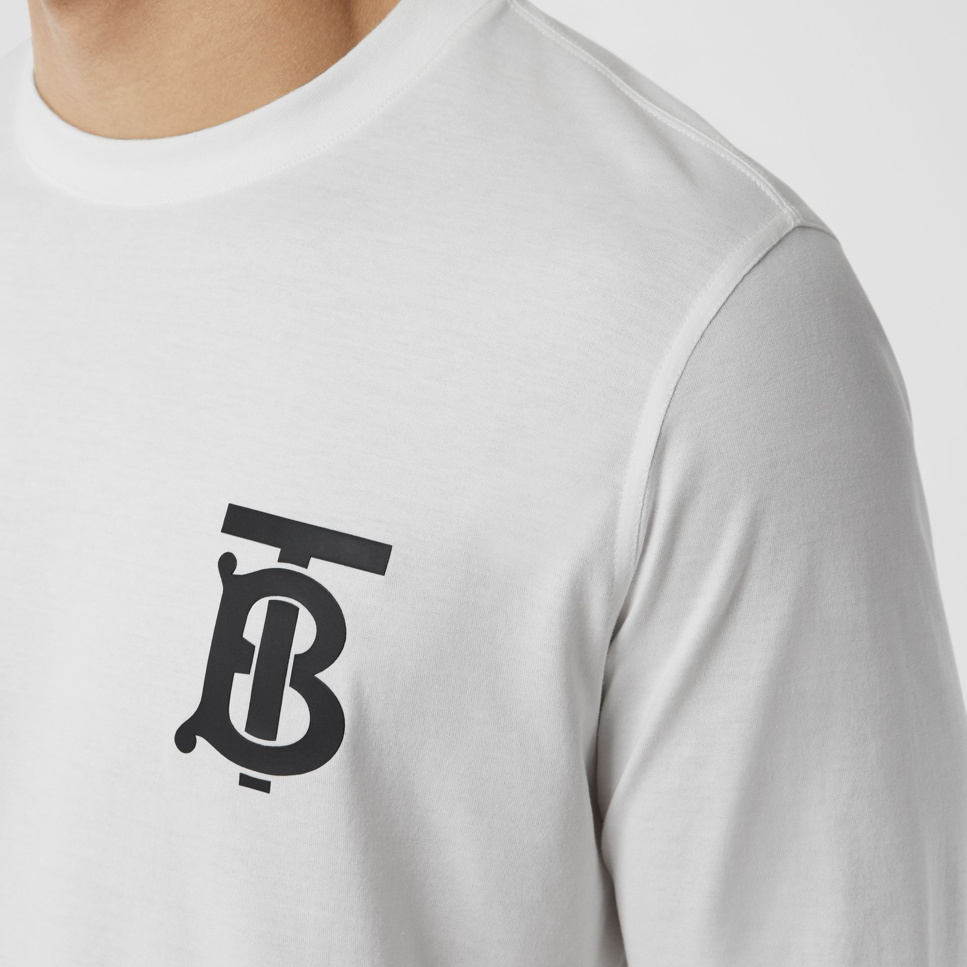 Long-sleeve Monogram Motif Cotton Top in White - Men | Burberry - gallery image 1