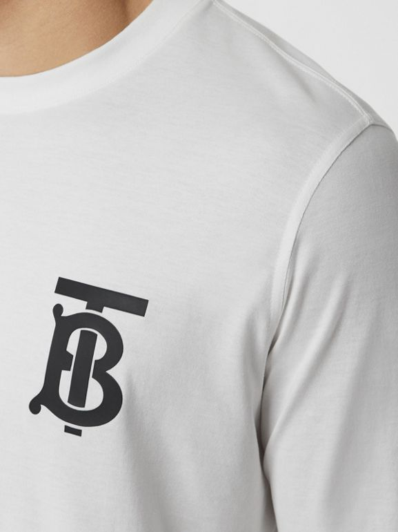 Long-sleeve Monogram Motif Cotton Top in White - Men | Burberry - cell image 1