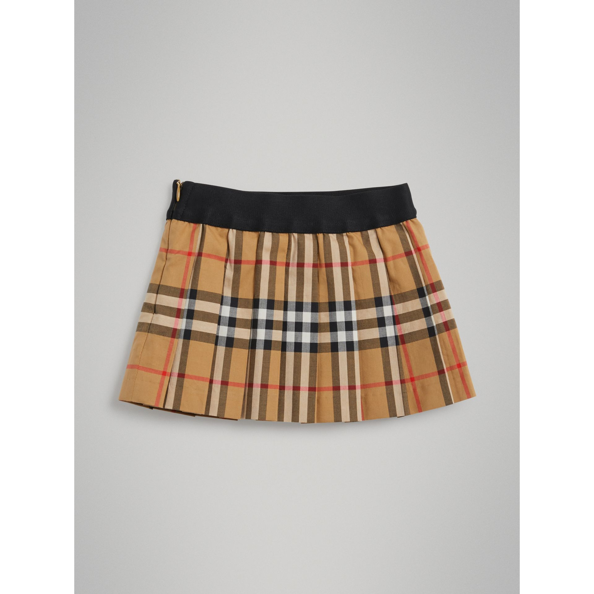 Pleated Vintage Check Cotton Skirt in Antique Yellow - Children | Burberry - gallery image 0
