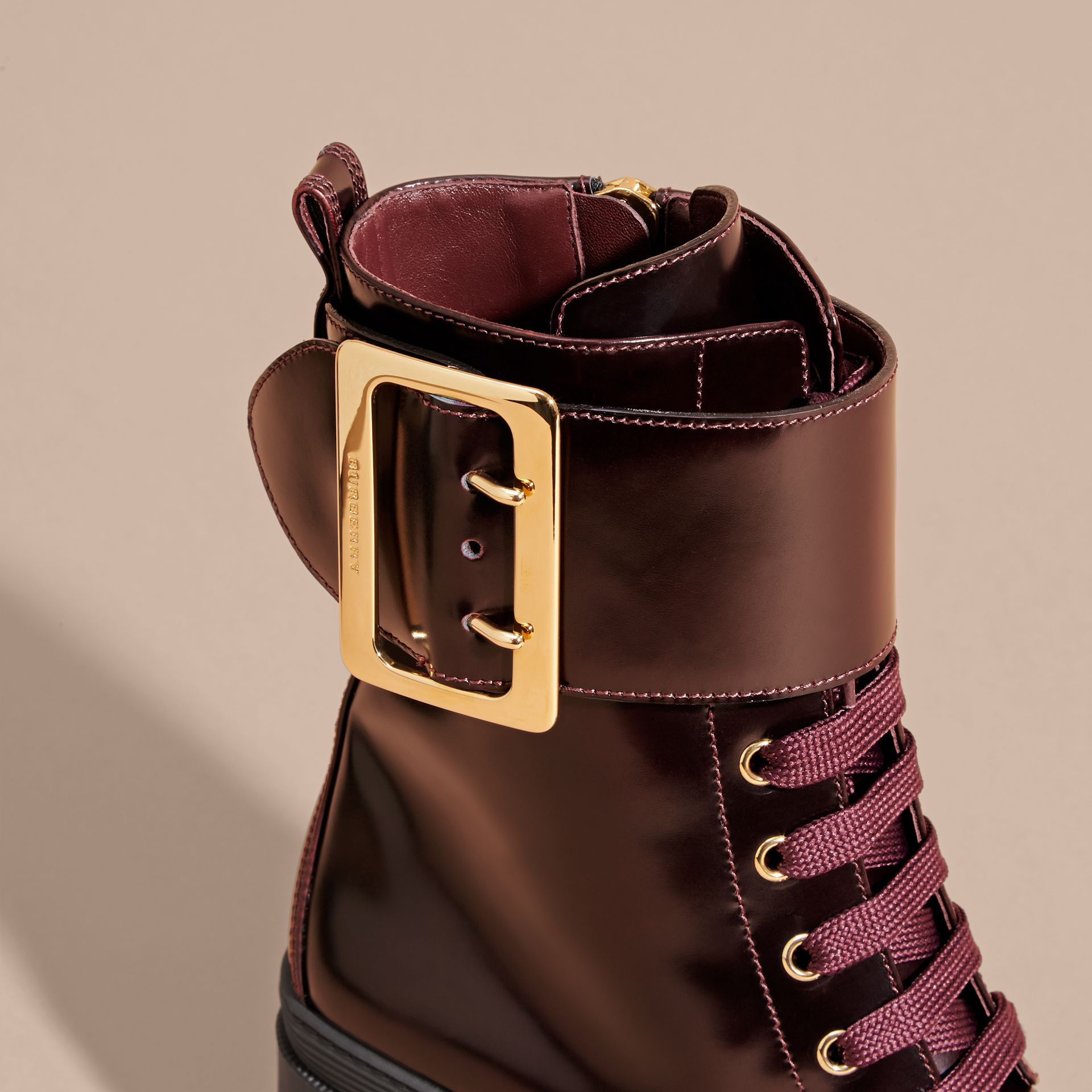 Bordeaux Leather Buckle Detail Boots Bordeaux - gallery image 2