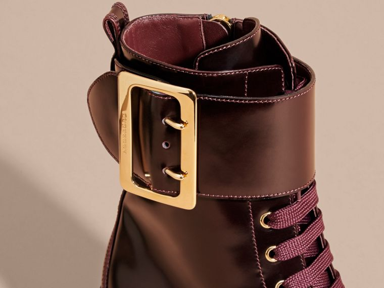 Bordeaux Leather Buckle Detail Boots Bordeaux - cell image 1