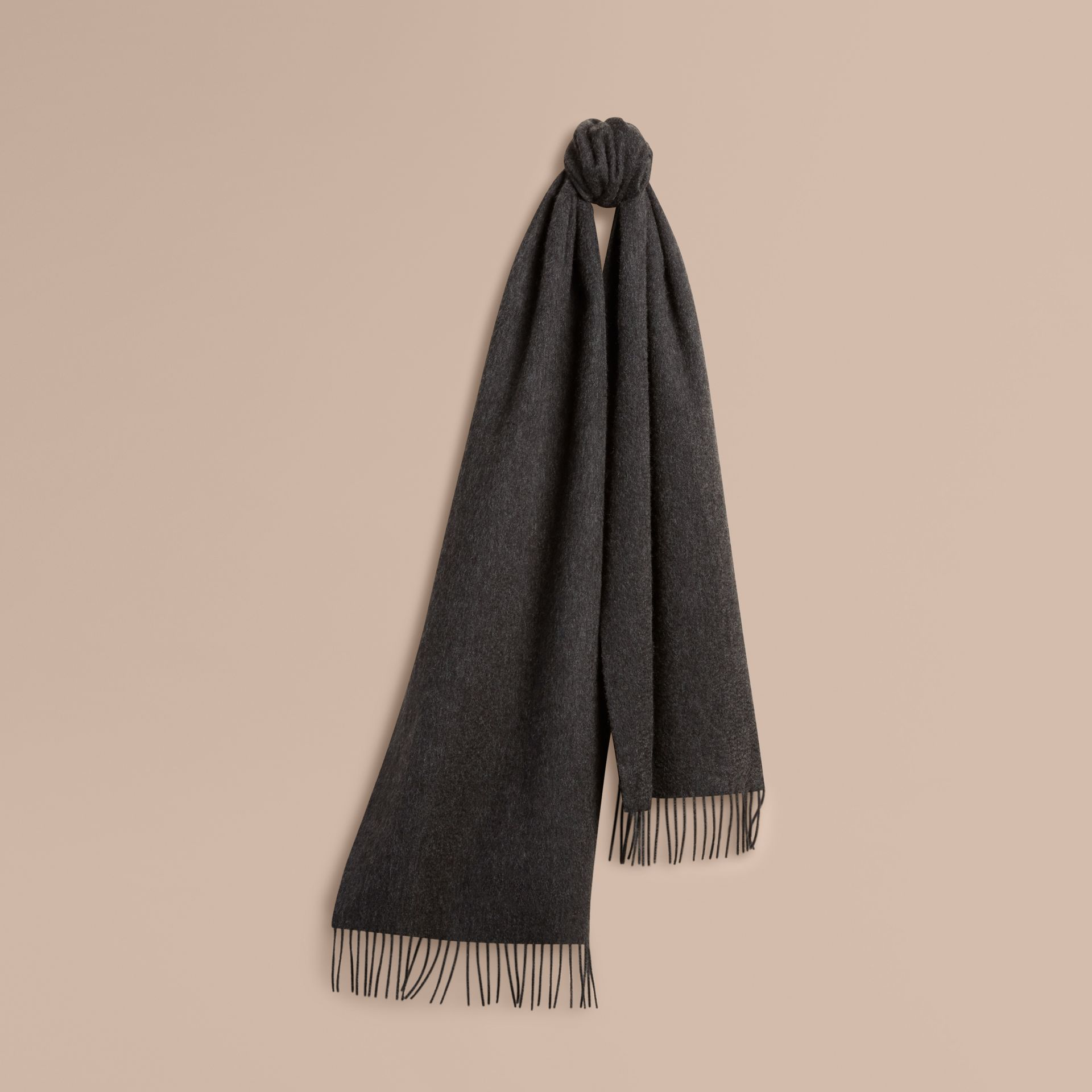 Charcoal The Classic Cashmere Scarf Charcoal - gallery image 6