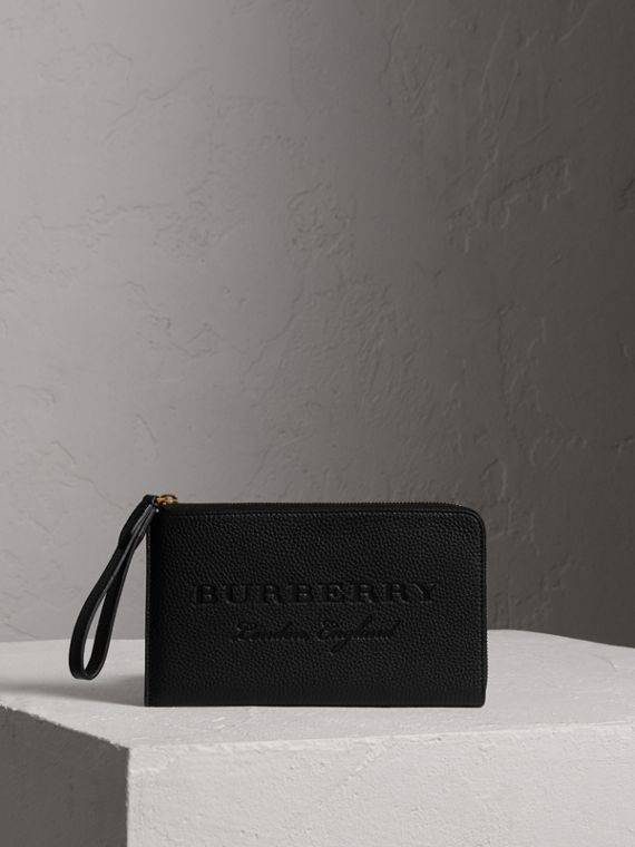 Embossed Leather Travel Wallet in Black