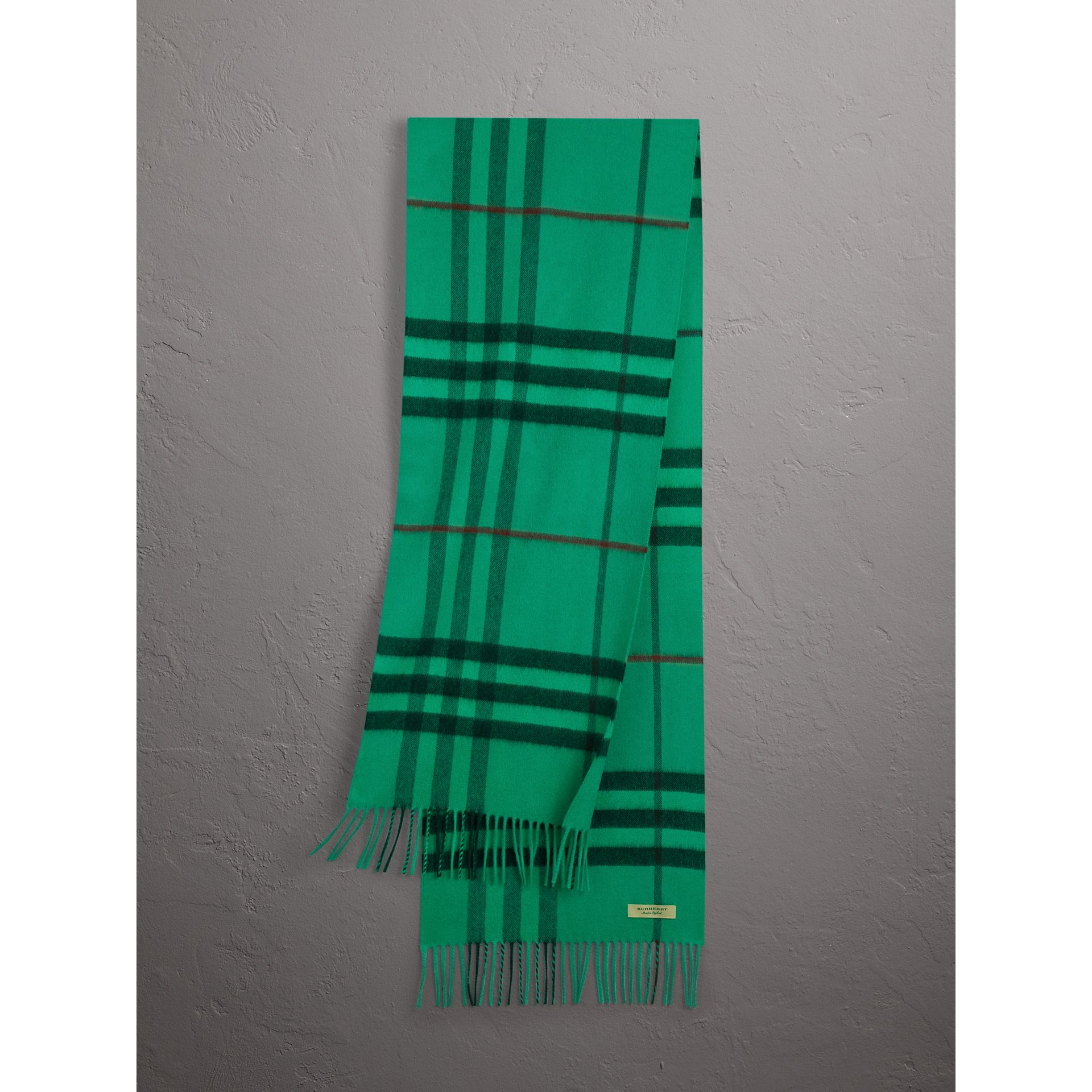 Overdyed Exploded Check Cashmere Scarf in Bright Emerald | Burberry Singapore - gallery image 0