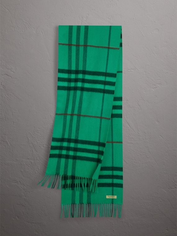 Overdyed Exploded Check Cashmere Scarf in Bright Emerald
