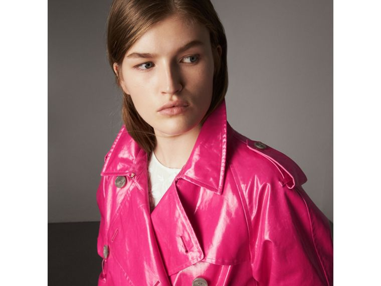 Laminated Cotton Trench Coat in Neon Pink - Women | Burberry - cell image 1