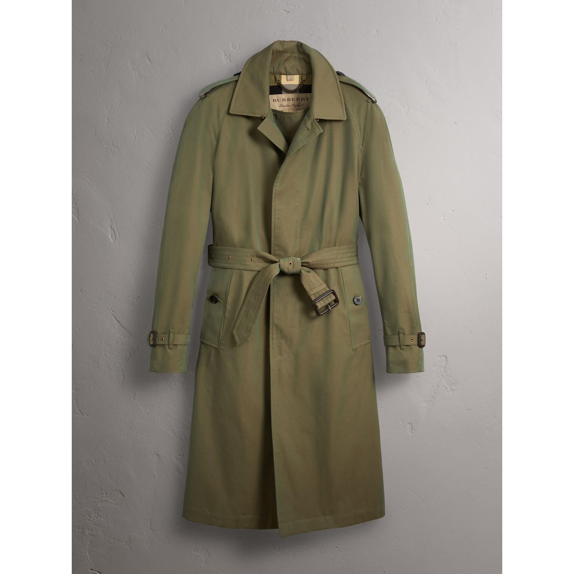 Oversize Storm Shield Tropical Gabardine Trench Coat in Bright Olive - Men | Burberry - gallery image 4
