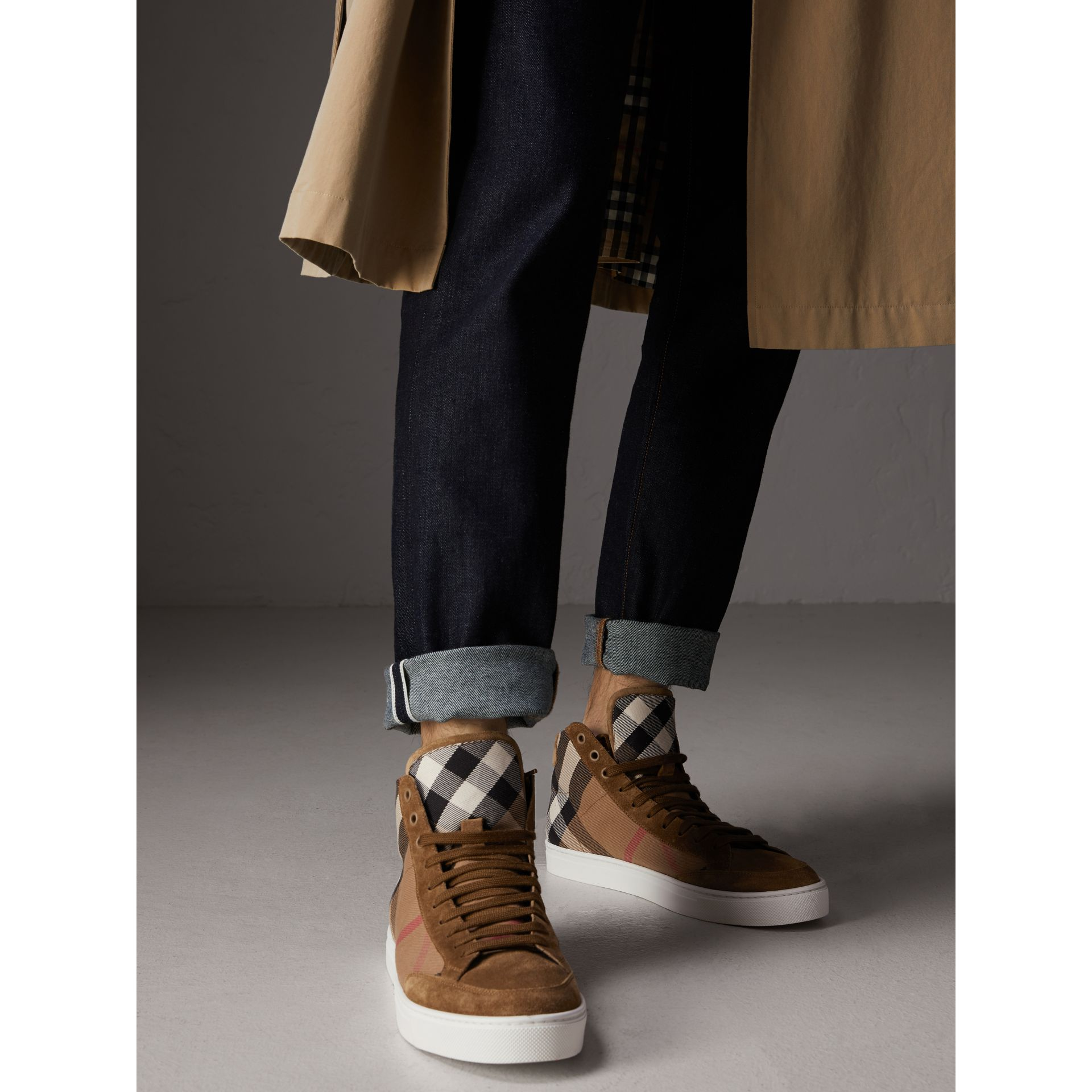 House Check Cotton and Calf Suede High-top Trainers in Flax Brown - Men | Burberry - gallery image 2