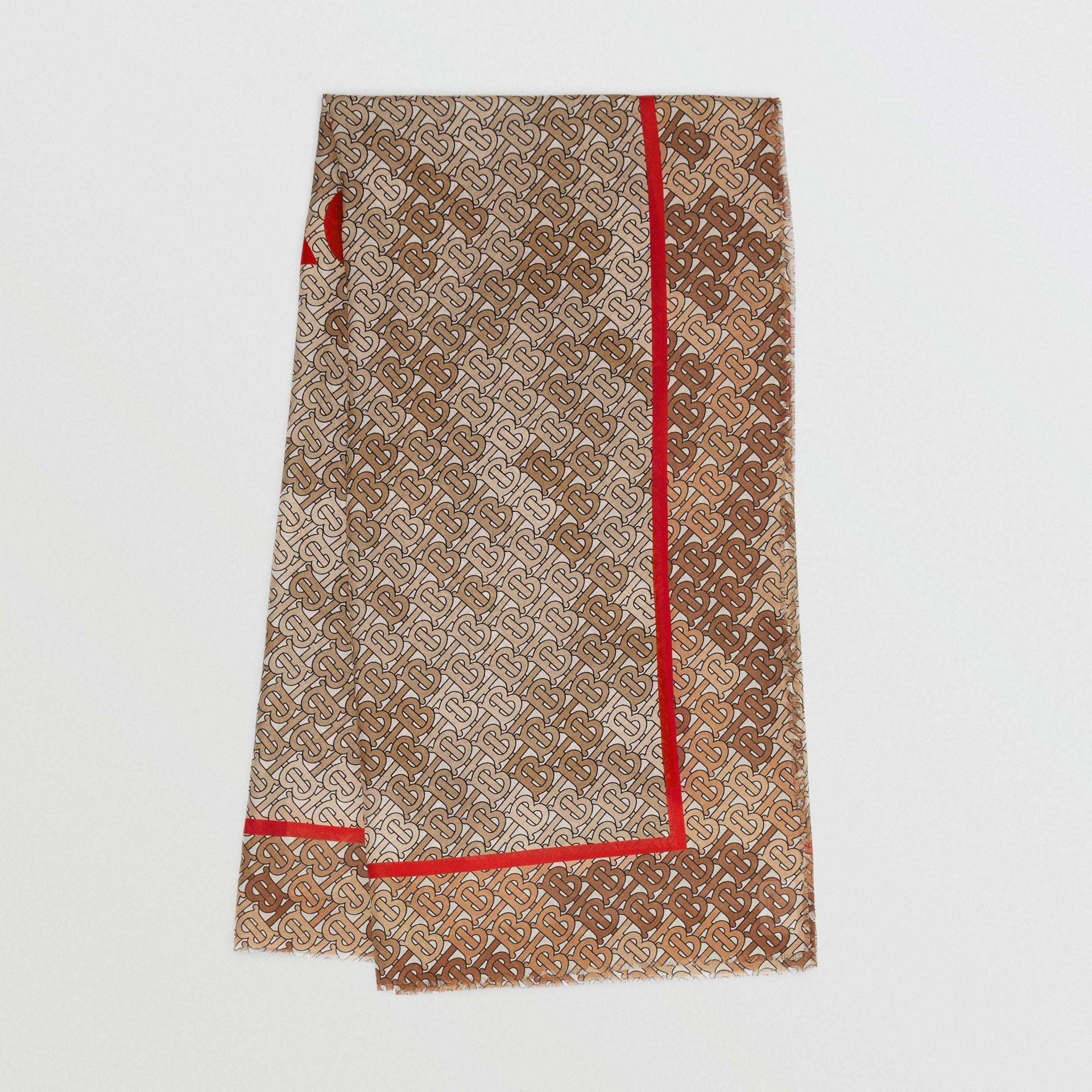 Horseferry Print Cotton Silk Large Square Scarf in Beige | Burberry Singapore - gallery image 0