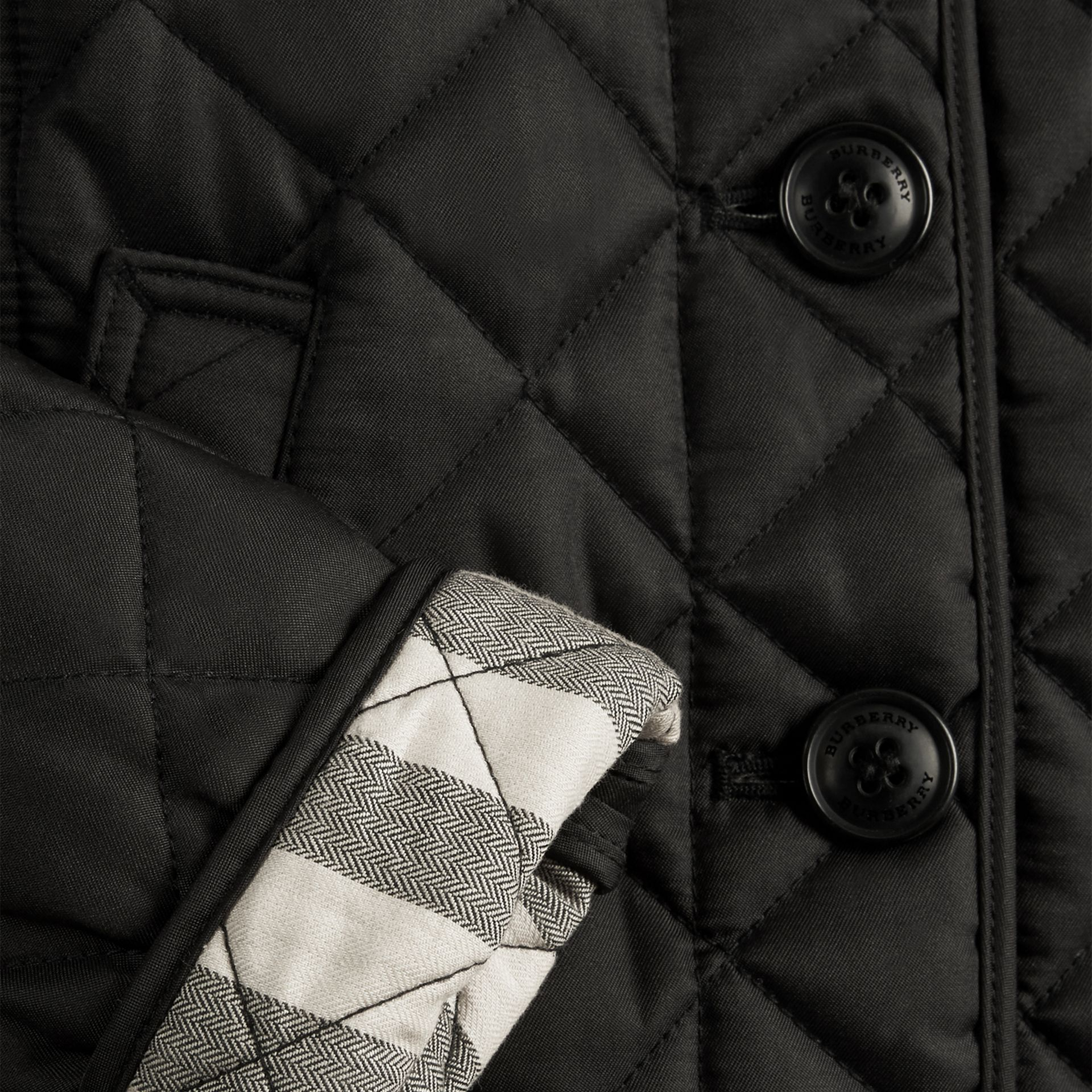 Check Lined Diamond Quilted Jacket in Black - gallery image 2