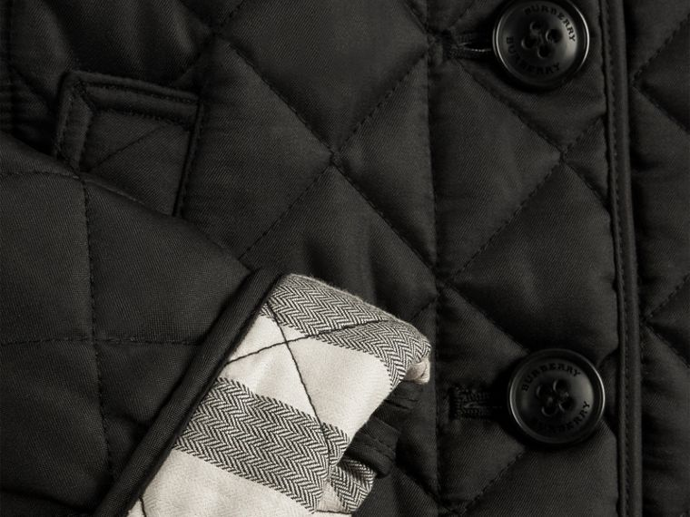 Check Lined Diamond Quilted Jacket in Black - cell image 1