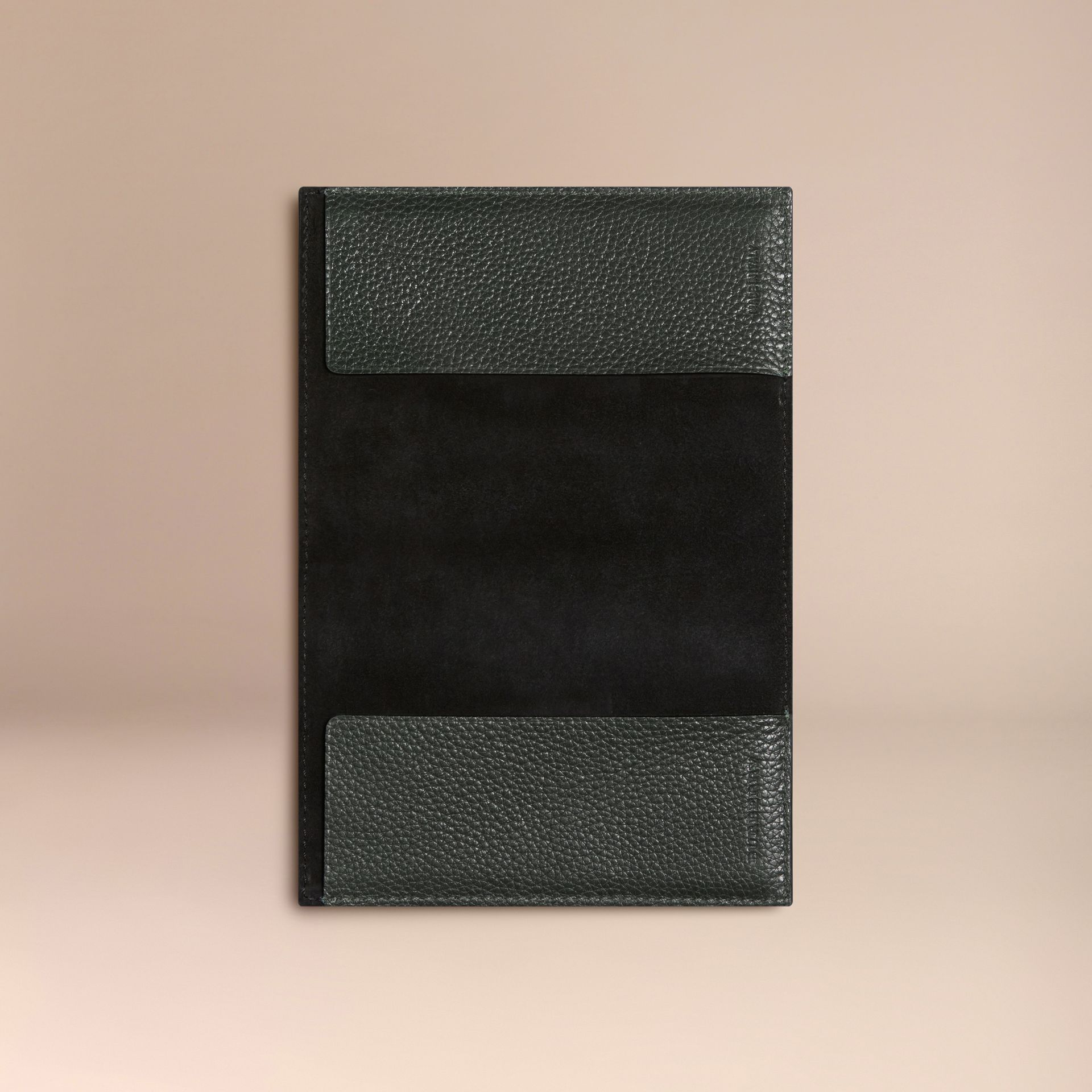 Grainy Leather Passport Cover in Dark Forest Green | Burberry - gallery image 3