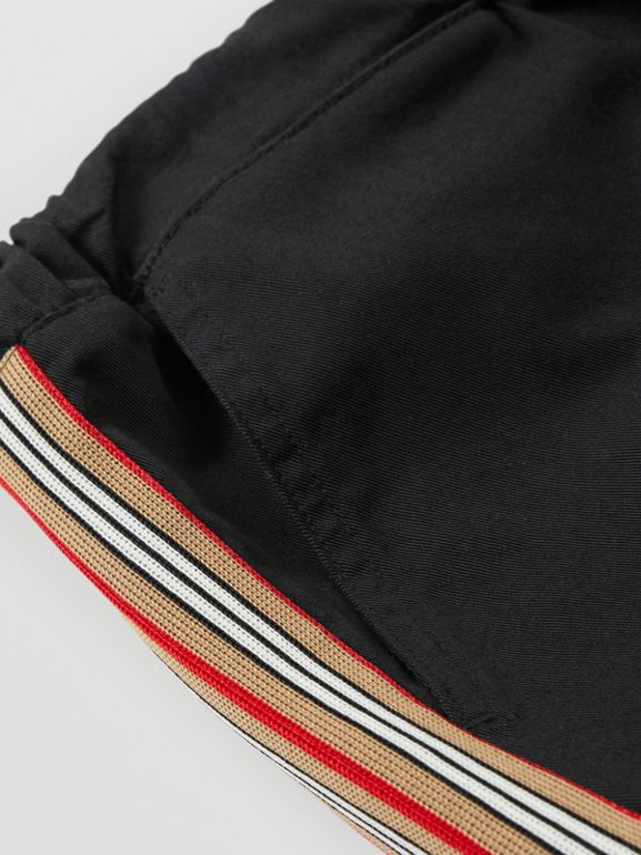 Icon Stripe Detail Cotton Chinos in Black | Burberry Australia - cell image 1
