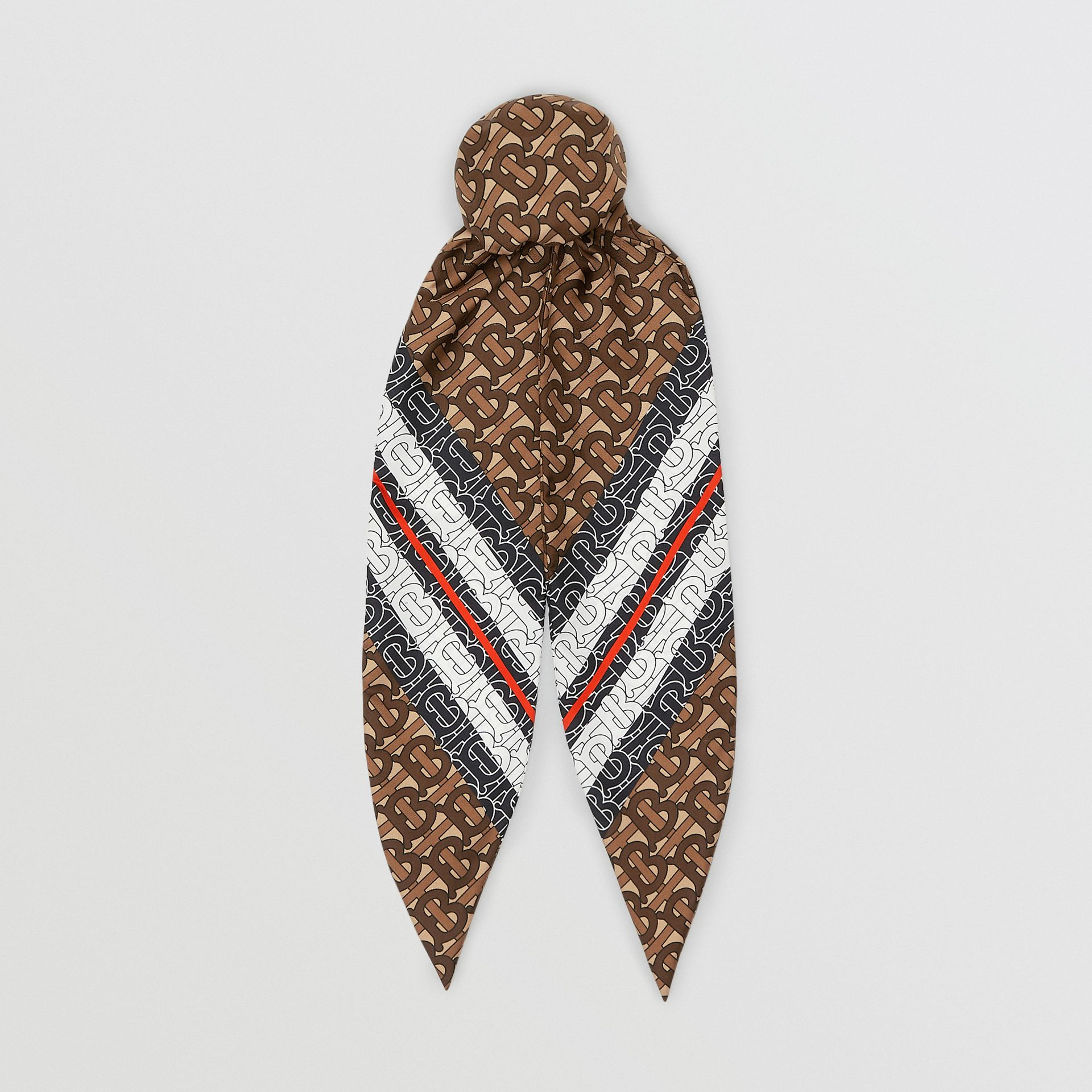Monogram Stripe Print Silk Hair Scarf in Bridle Brown - Women | Burberry - gallery image 0
