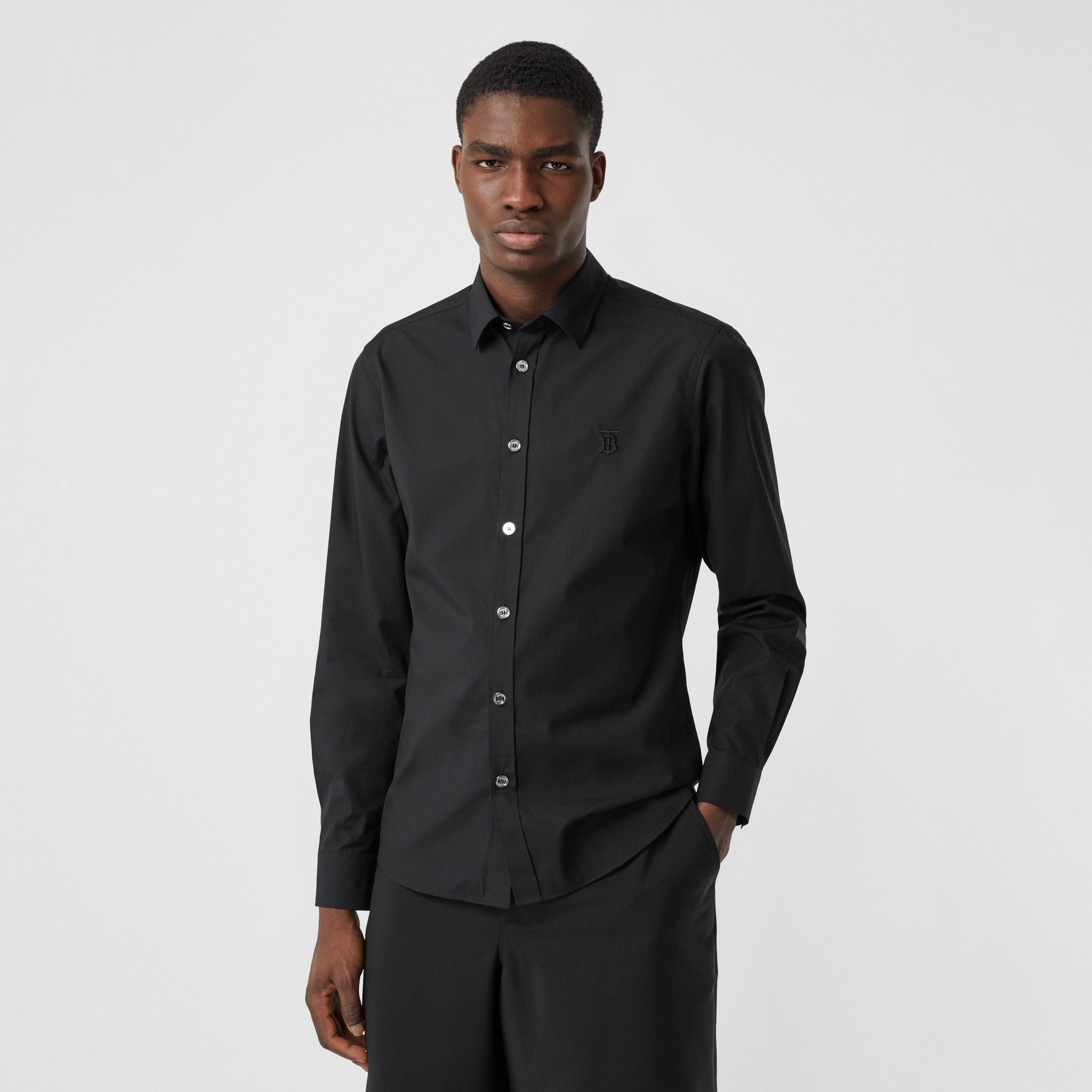 Monogram Motif Stretch Cotton Poplin Shirt in Black - Men | Burberry Australia - 1