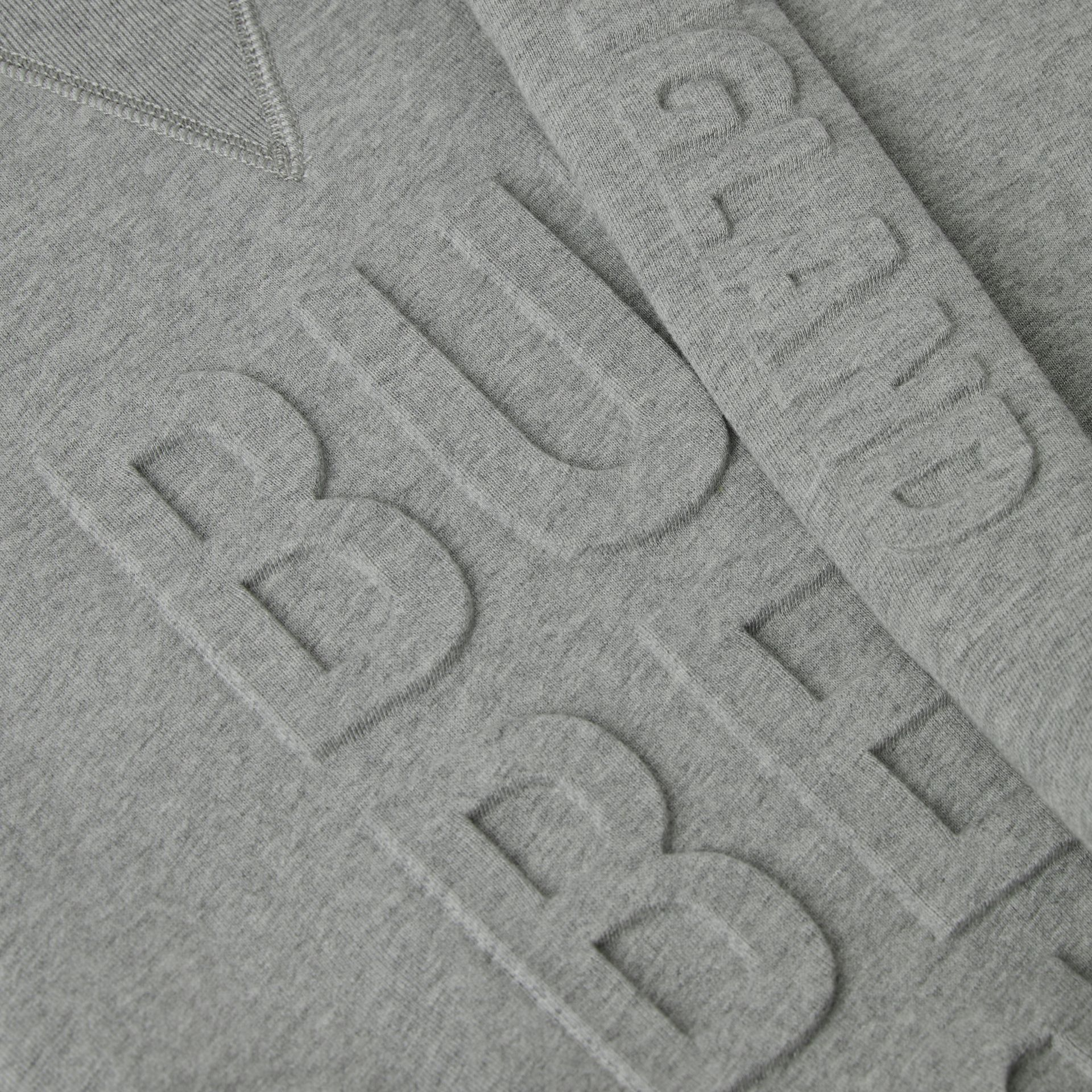 Embossed Logo Cotton Sweater Dress in Grey Melange | Burberry - gallery image 1