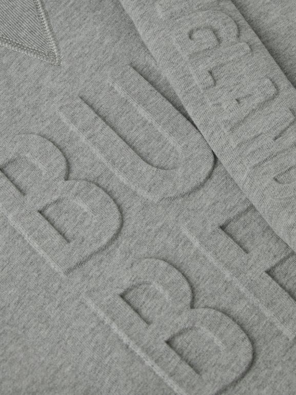 Embossed Logo Cotton Sweater Dress in Grey Melange | Burberry - cell image 1