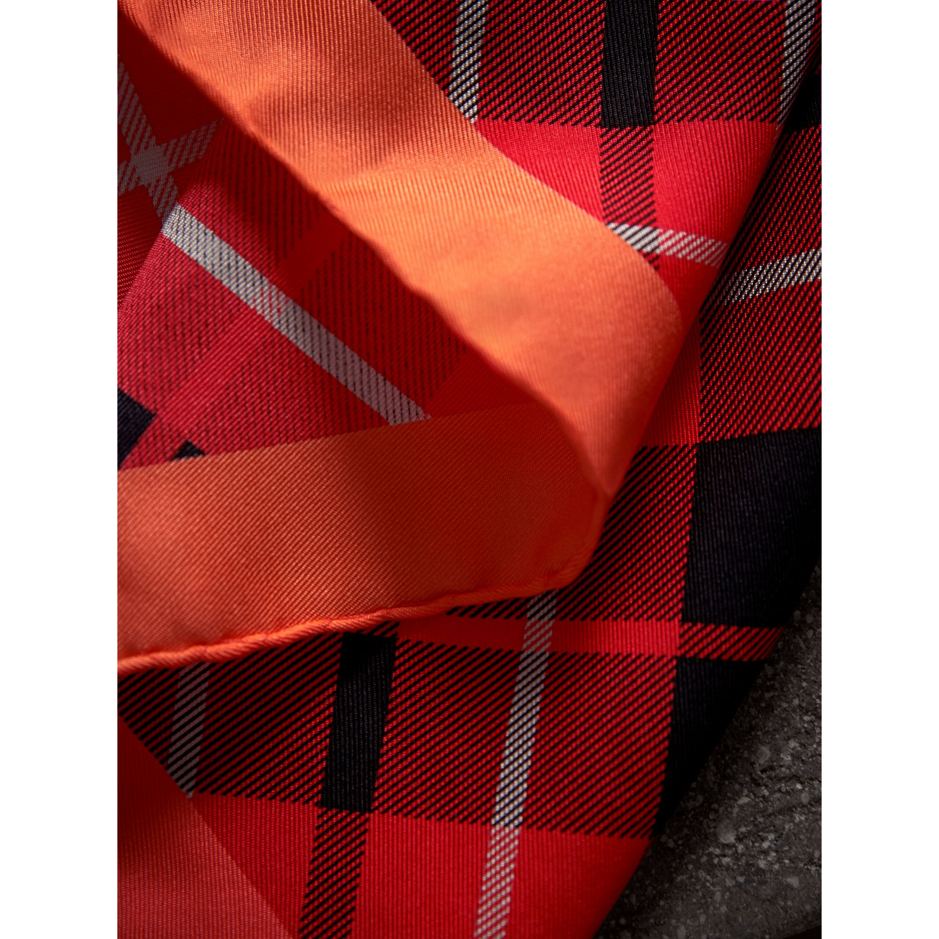 The Burberry Bandana in Check Silk in Vibrant Red | Burberry - gallery image 2