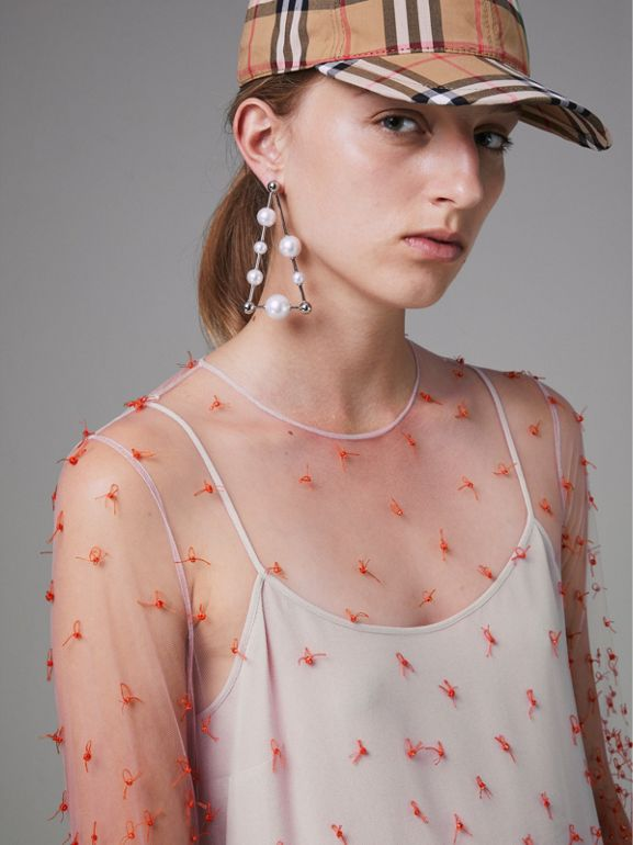 Dégradé Hand-beaded Crepon Dress in Coral - Women | Burberry Singapore - cell image 1