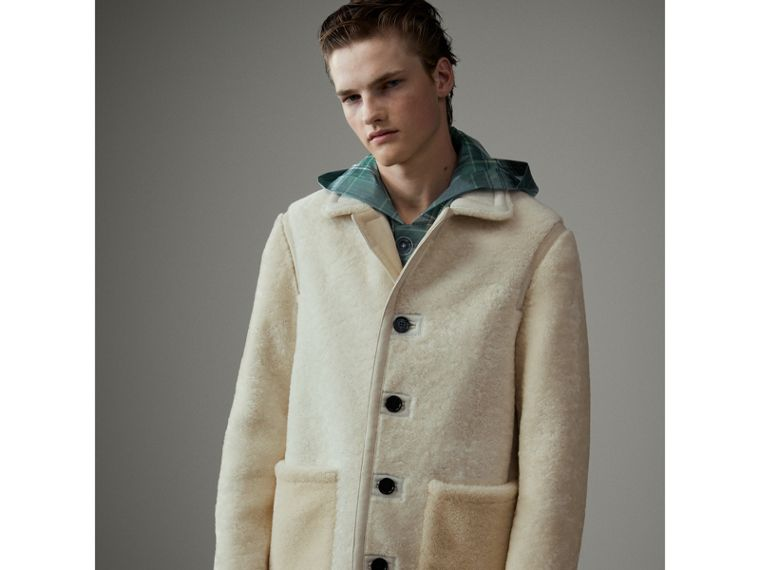 Shearling Jacket in White - Men | Burberry - cell image 4