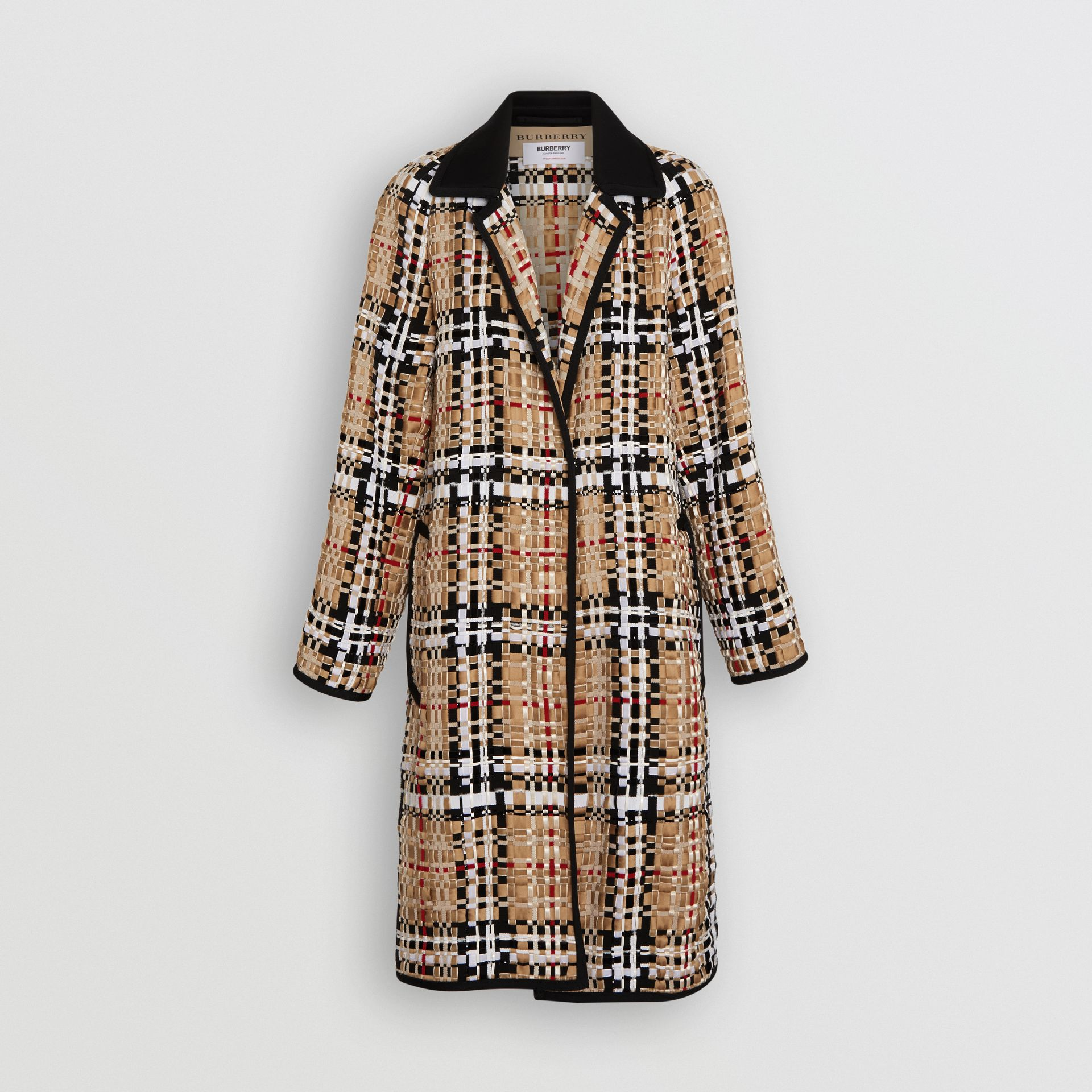 Check Basketweave Ribbon Coat in Archive Beige - Women | Burberry Australia - gallery image 3
