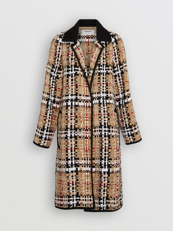 Check Basketweave Ribbon Coat in Archive Beige - Women | Burberry Australia - cell image 3