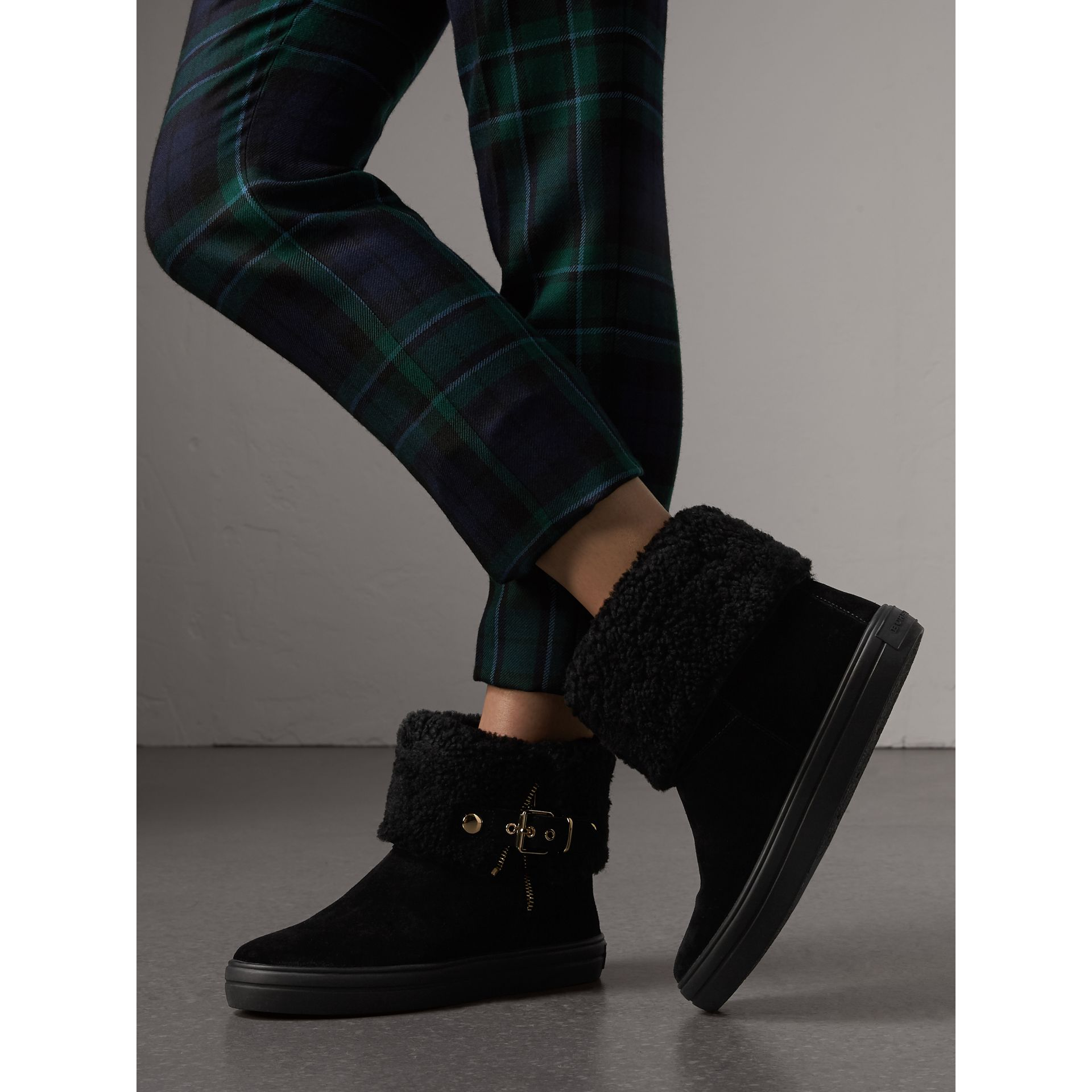 Shearling-lined Suede Ankle Boots in Black - Women | Burberry - gallery image 2