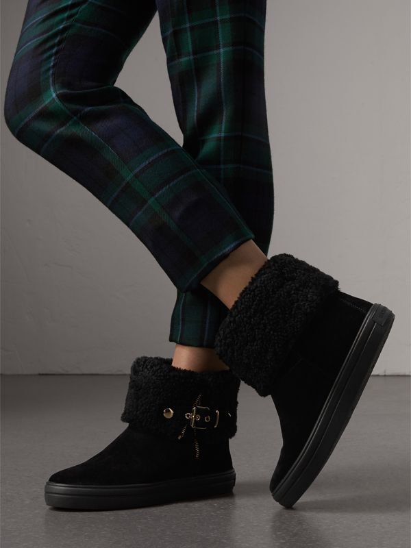 Shearling-lined Suede Ankle Boots in Black - Women | Burberry United Kingdom - cell image 2