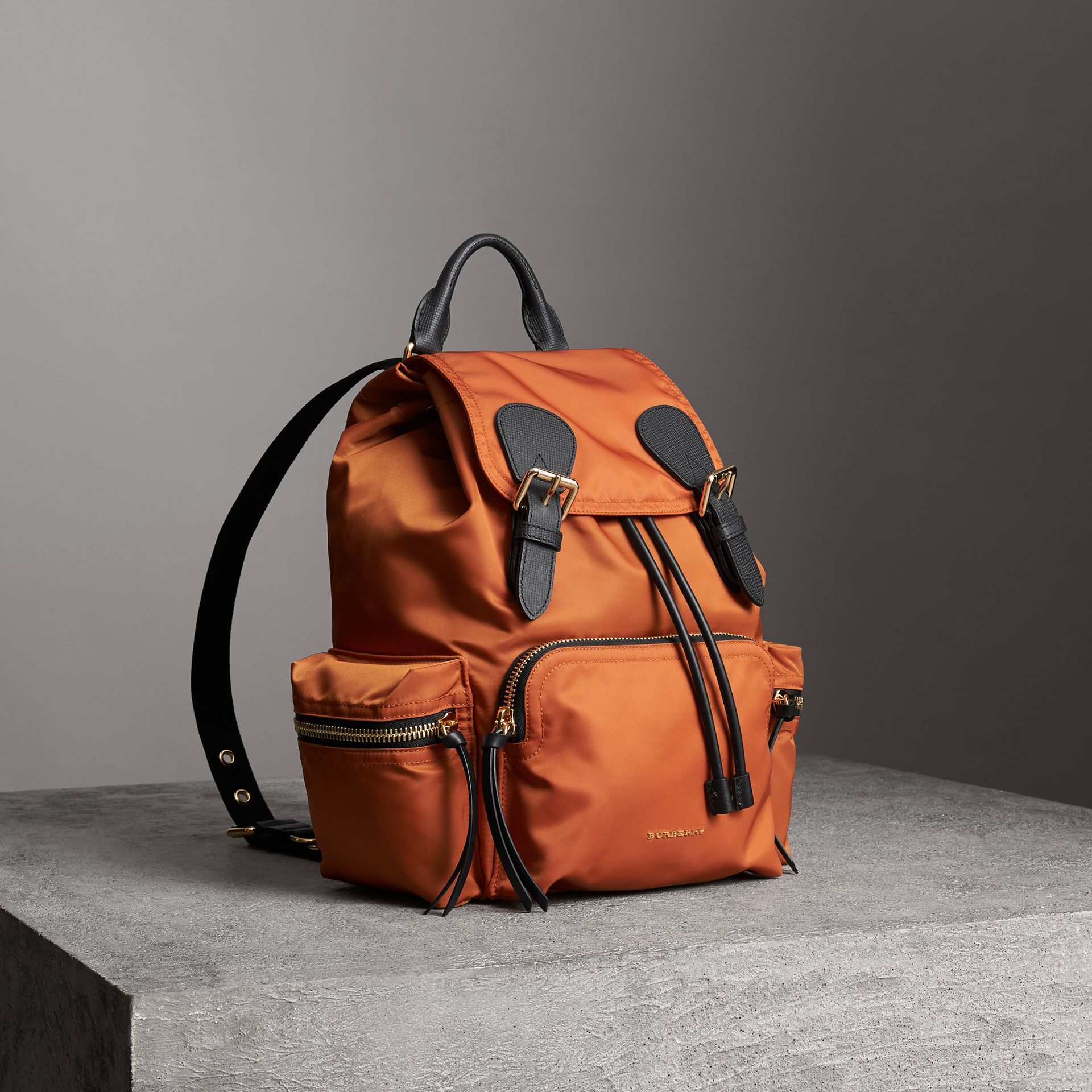 The Medium Rucksack in Technical Nylon and Leather in Clementine - Women | Burberry United States - gallery image 0