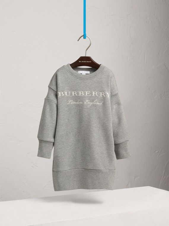 Embroidered Cotton Sweatshirt Dress in Grey Melange - Girl | Burberry - cell image 2