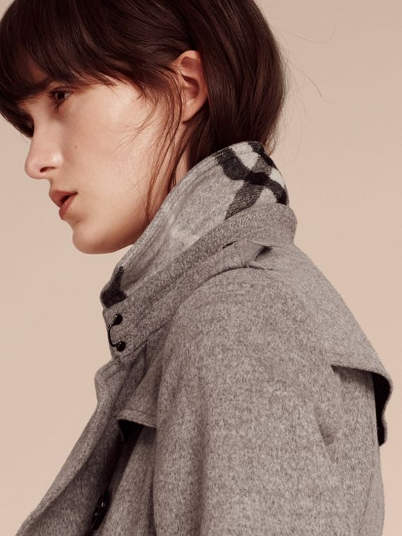 Grigio pallido mélange Trench coat in lana e cashmere con collo in pelliccia - cell image 2