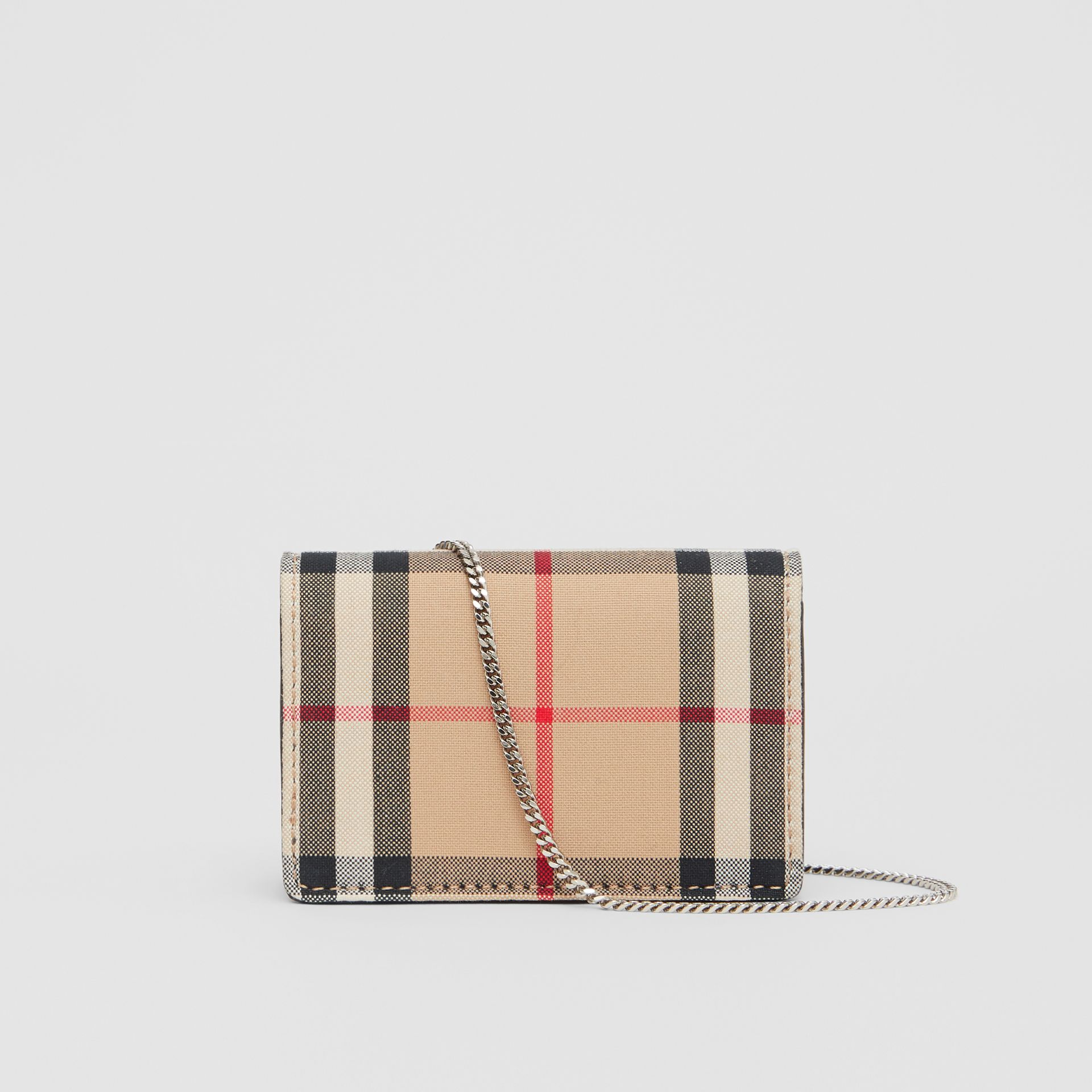 Vintage Check Card Case with Detachable Strap in Black - Women | Burberry Australia - gallery image 7