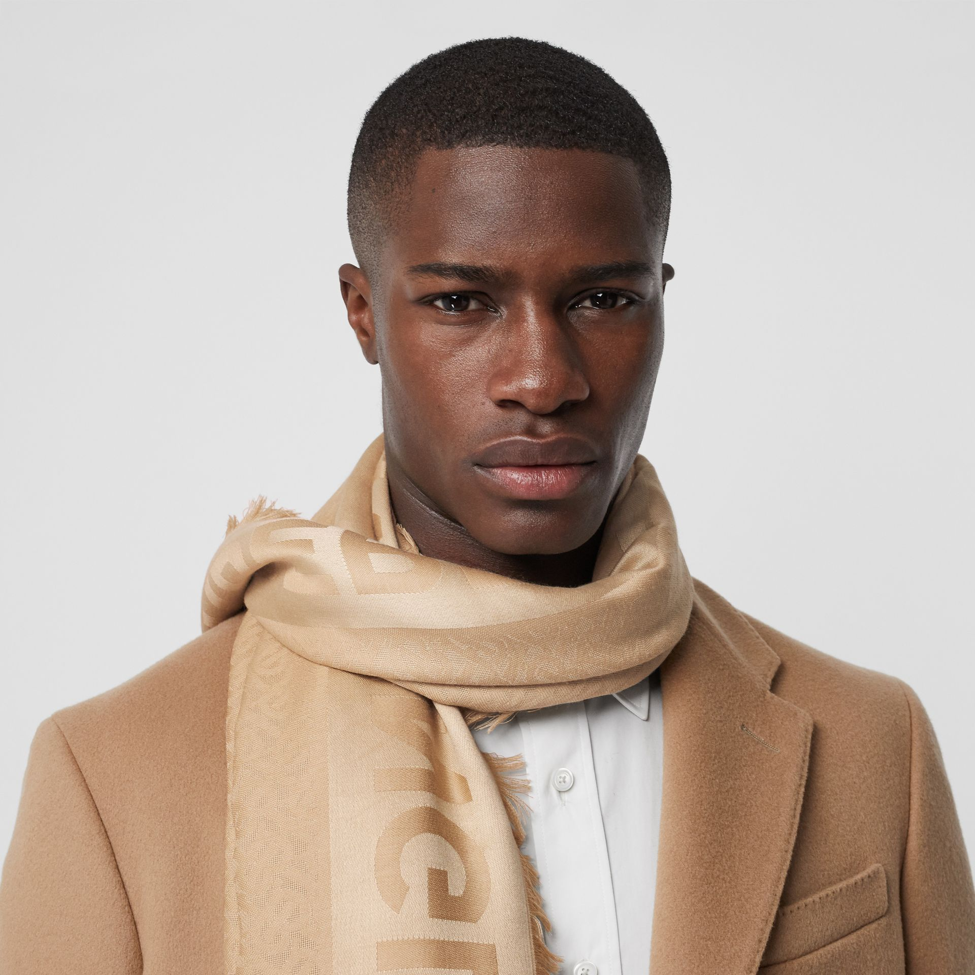 Monogram Silk Wool Jacquard Large Square Scarf in Honey | Burberry Canada - gallery image 3