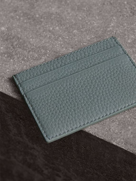 Textured Leather Card Case in Dusty Teal Blue | Burberry United States - cell image 2