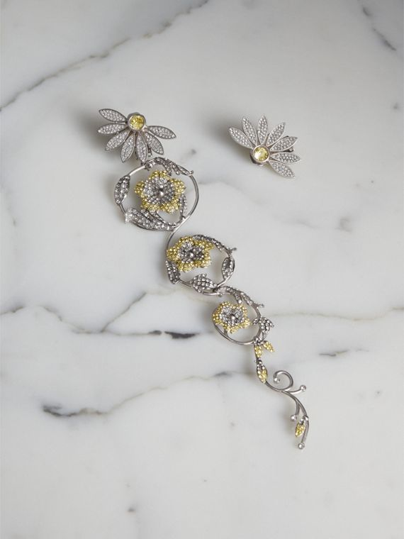 Long Crystal Half-daisy Drop Earring and Stud Set  in Iris Yellow
